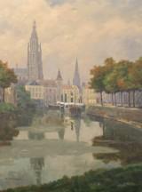 Jean Möhren, (1876-1956), olie på lærred, Skildring af by