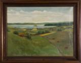 Malerei / Ölbild, Landschaft mit See, Häusern und Kühen