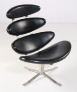 Poul M. Volther. 'Corona' Sessel, schwarzes Leder, Modell EJ 5