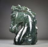 A Chinese sculpture, green-mottled marble, 20th century