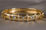 A bracelet, 750 gold, with aquamarine and brilliant cut diamonds