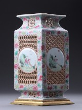 Four-sided porcelain vase with family and rose decor, China