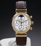 IWC 'Da Vinci Chronograph'. Midsize dameur i 18 kt. guld med hvid skive, ca. 2000