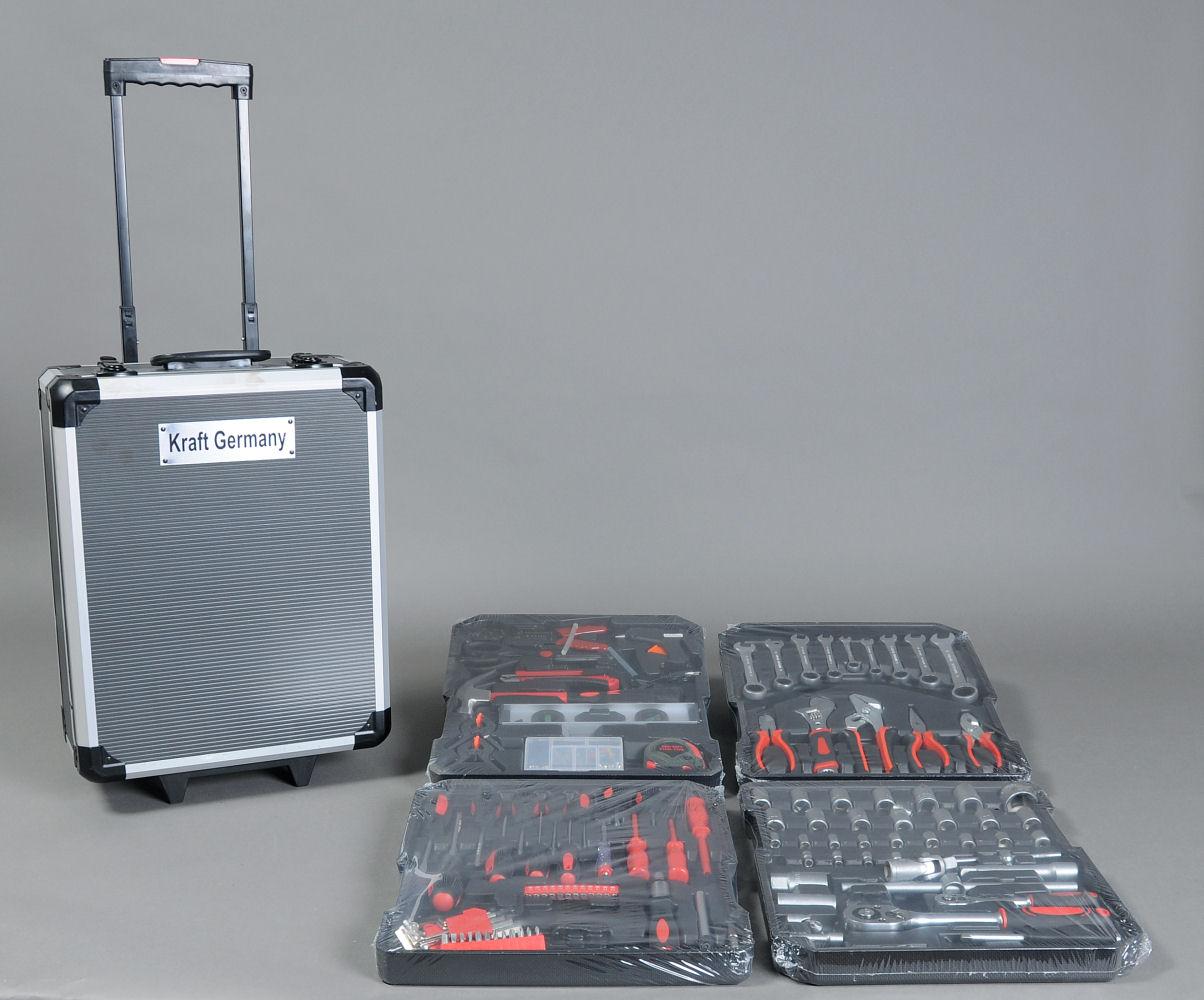 Værktøj i alukasse (185 dele) - Værktøj i alukasse (rejsetaske) med hjul bestående af 185 dele, bl.a. topnøglesæt med forlængere, bidetang, skruetrækkere, hammer, lim-pistol, målebånd, hobbykniv, bitsholder inkl. 24 bits, unbrachonøgler m.m. CE-mærket. (185)
