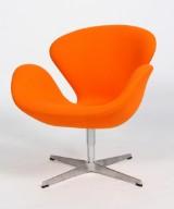 Arne Jacobsen. The Swan easy chair, model 3320, orange Tonus wool