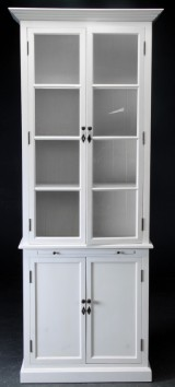Two-section glass cabinet, white-painted wood