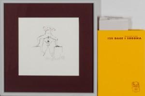 Frans Kannik, litografisk trykt særudgivelse samt signeret forlæg til indvendig vignet, 120 Dage i Sodoma af Marquis D.A.F. de Sade. cd. (2) - Dk, Herlev, Dynamovej - Litografisk særudgave af Marquis D.A.F. de Sades '120 Dage i Sodoma' samt originalt forlæg til vignet på s. 46, illustreret af Frans Kannik (1949-2011). Udgivet i 1998, bog ombundet i gult Viking Gummi, indvendigt sign. Frans Ka - Dk, Herlev, Dynamovej