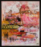 Heidi Lind Bonde, akryl på lærred, 'Flowergarden no. 6'