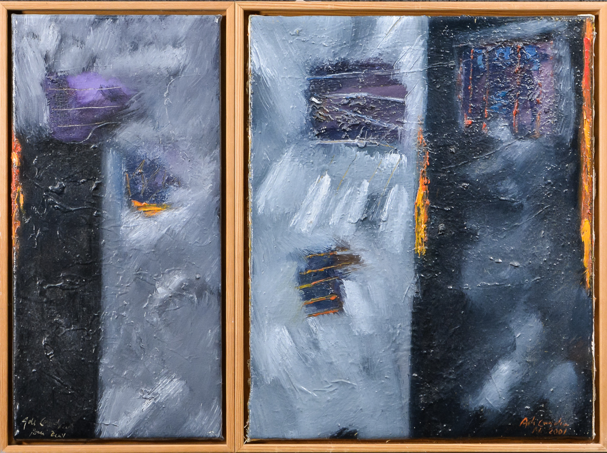 Adi Candra, mixed-media på lærred, Black Cloud, Two Choice - Black Cloud, Two Choice af Adi Candra, mixed-media på lærred, sign. Adi Candra-2001, 49x24 cm. (52,5x27,5 cm). 49,5x40,5 cm. (52,5x43,5 cm)
