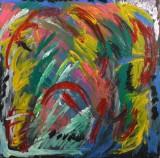 Hans Degner, akrylmaleri 'Crazy Flywers'