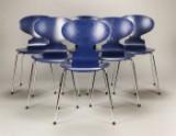 Arne Jacobsen. Sæt på seks stole, 'myren' model 3101 (6)