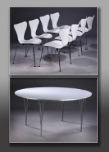 Piet Hein & Bruno Mathsson Super Circular table and eight Arne Jacobsen chairs, model 3107 (5)