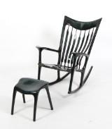 Morten Stenbæk. A handmade rocking chair with footstool, ash with art finish, model Low Rocker (2)