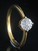 Goldplated diamond ring approx. 0.09ct