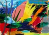 Jon Gislason. 'Sommerhud', olie og akryl på lærred
