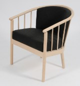 Stouby Design. Spoke easy chair, charcoal-grey wool, beech frame