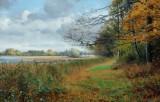 Sigvard Hansen. Autumn landscape by a lake, 1886, oil on canvas