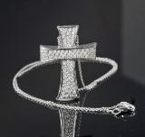 Brilliant-cut diamond cross pendant with chain approx. 1.04 ct.