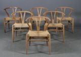 Hans J. Wegner. Six chairs, Wishbone Chair, model CH24 (6)