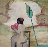 Diana Achtzig, Acrylemälde, 'Pink Herz'