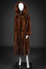 Mahogany mink coat with hood, size 42/44