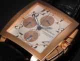 Gaspari 'Time Square'. A large men's chronograph, 18 kt. rosé gold