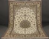 Fint knyttet signeret persisk Nain Akhavan tæppe med silke, 300 x 204 cm.