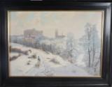 Oljemålning. Lekande barn i snö med Uppsala slott domkyrka i bakgrunden
