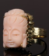 Buddha ring, hand-carved coral, 14 kt. gold, 19 grams