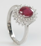 Rubin- og brillant ring