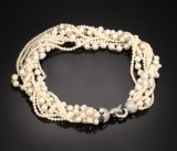 Nine-strand Akoya cultured pearl and diamond necklace