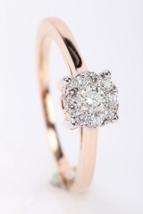 Brilliant-cut diamond ring from FHP, 14 kt. pink gold, approx. 0.32 ct.