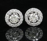 Earrings in 14kt with brilliant cut diamond approx 0.64ct