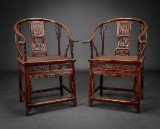 A pair of horseshoe chairs, Ming style. Dark elm (Ju-mu) with woven seats. Qing Dynasty (2)