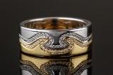 Georg Jensen diamond ring, model Fusion, 18 kt. gold and white gold