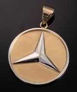 Guldvedhæng med Mercedes tegn, 14 kt