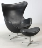 Arne Jacobsen. Lounge chair, The Egg, model 3316, with accompanying ottoman, model 3127 (2)