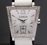 Corum 'Trapeze'. Ladies watch, steel with diamonds, certificate 2010