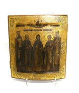 A Russian icon, egg tempera on wood, '5 Saints', 18th century