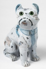 Gengoult Prouvé for Emile Gallé, pug dog / Bulli, a figure, faience, Art Nouveau, Nancy, c. 1874