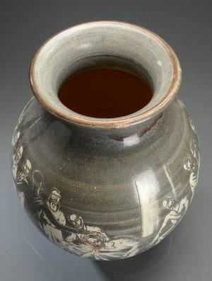 harald folmer gross knabstrup teglv rk vase af keramik med religi st motiv. Black Bedroom Furniture Sets. Home Design Ideas