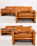 Vico Magistretti, two 2-seater sofas and one chair model Maralunga in leather for Cassina (4)