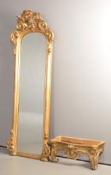 Nyrokoko-spejl og konsol med marmorplade, 1800-tallet (2)