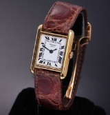 Chopard 'Tank' ladies' watch, 18 kt. gold, white dial, roman numerals