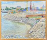 Mogens Høver, olie på lærred, motiv fra byggeplads af Tuborg havn, 'Havnebassinnet'