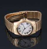 Cartier 'Santos Ronde'. Herreur i 18 kt. guld med lys skive med dato, ca. 1995
