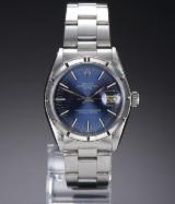 Rolex 'Date'. Vintage herreur i stål med blå skive, ca. 1962