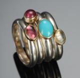Ringe af sølv og guld med ædelsten (4)