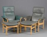 Et par hvilestole og et par skamler med stel af formspændt bøgetræ. (4)