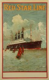 'Red Star Line', vintageplakat for oceandampere, ca. 1920'erne